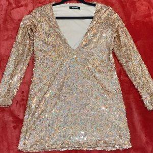sequin shift dress gold